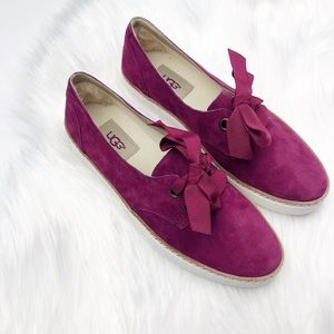 New Ugg Suede Fuchsia Lace Up Carilyn Flats